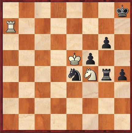 11e partie: dans une position qui était désespérée, Grischuk trouve 46.Cxg6+! et force la nulle