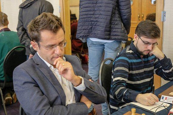 Aronian et Maxime, guère habitués aux travées des Opens! (photo John Saunders)
