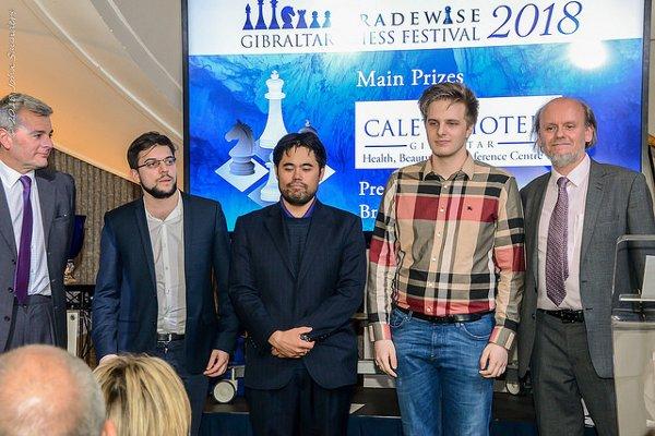 Le trio des premiers ex-aequo, devancés au tie-break par Aronian… (photo John Saunders)