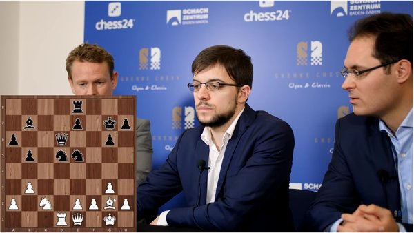 A l'analyse avec les commentateurs Jan Gustafsson et Peter Leko (photo Grenke Chess).