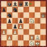 Mvl-Monsieux, Hyères 2002. Parfois, il faut un peu de chance ; ici, j'ai eu un coup de pouce du destin dès la première ronde. Dans cette position à peu près équilibrée, les noirs jouent le fautif 37…Tf8?, qui perd du matériel de manière forcée après 38.Ce7! Th8 (38…Dxe7 39.Dxf8) 39.Cc6+ Ra8 40.Dg7! Tg8 (40…De8 41.Dxc7) 41.Df7 1-0.