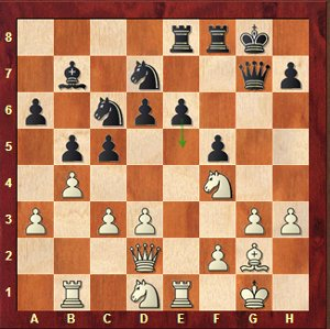 Caruana-Mvl, round 22; 21…e5! 22.Bd5+ Kh8 23.Ne6 Rxe6 24.Bxe6 f4 with a strong attack.