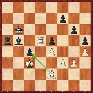Giri-Mvl, ronde 11 ; 50.Fxc4? coûte la partie aux blancs.