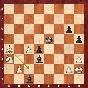 Grischuk-Mvl, ronde 19 ; sous pression au temps, Grischuk lâche une pièce par 49.Fc2? Fxc2 50.Cxc2 d3.