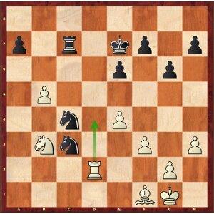 Karjakine-Mvl, ronde 25 ; après 35.Td4? Ca3!, c'est la sarabande des Cavaliers noirs !