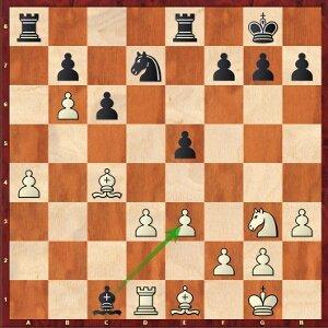 Kramnik-Mvl, ronde 27 ; 27…Fxe3?, une grosse erreur de jugement pour conclure le tournoi.
