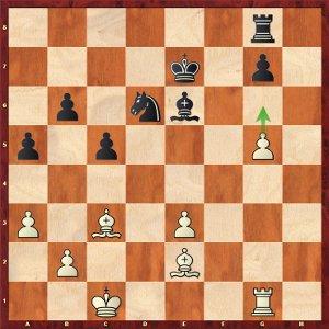 Mvl-Aronian, ronde 9 ; avec le pion en g6, les noirs ont des problèmes à résoudre.