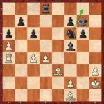 Mvl-Caruana, ronde 3; 28…Cg8! avec l'idée de rerouter le Cavalier vers f5, une superbe ressource défensive.
