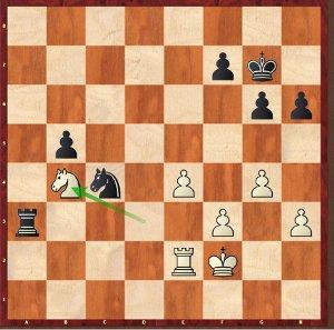 Mvl-Karjakin, ronde 1 ; une finale difficile d'entrée de jeu avec les blancs.