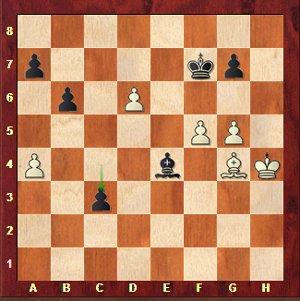 Mvl-Karjakin, ronde 25 ; les noirs viennent de jouer l'horrible 50…c3??.