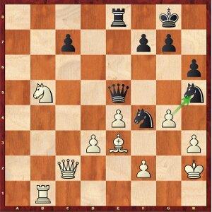 Mvl-Kramnik, ronde 18 ; les blancs ont plusieurs gains.