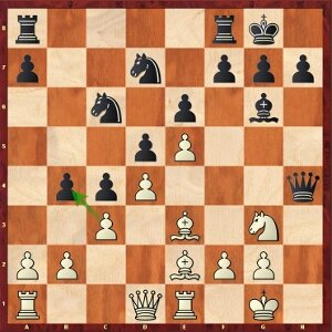 Mvl-Mamedyarov, round 24; the counter-intuitive 17.cxb4? is based on a miscalculation.