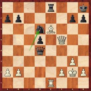 Les noirs viennent de jouer 28…Cd6?, et après l'esthétique 29.Fxd5!, Maxime profitera tactiquement de la faiblesse de la dernière rangée noire !