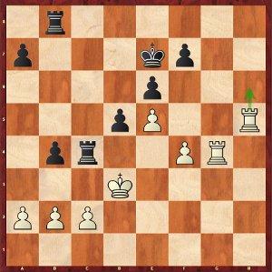 Mvl-Carlsen, ronde 2 ; au lieu de 32.Th6, Maxime a opté pour 32.Tgh4?.