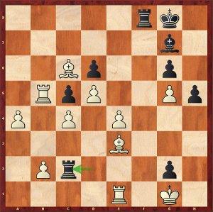 Carlsen-Mvl (analyse) ; 34…Tc2! en fin de variante, un coup évident, mais pour la machine !