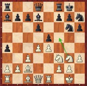 Mvl-Navara, ronde 10 ; les noirs viennent de jouer 14…Ch7?!, et c'est aux blancs de s'amuser !.