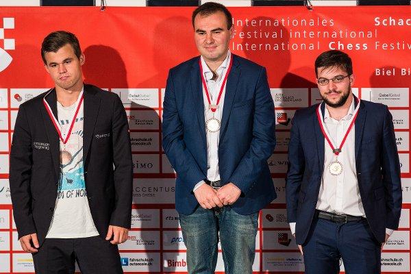 Le podium de Bienne 2018 (Photo: Simon Bohnenblust / Biel Chess Festival).