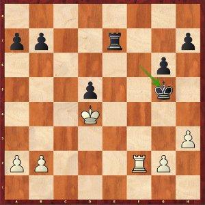 Mvl-Komodo, Handicap 1 ; l'activité du Roi noir rend la tâche défensive des blancs ardue.