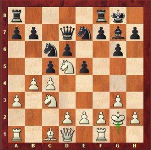 Adams-Mvl, Ronde 6; 13…Cxd5?!, pas la meilleure décision.