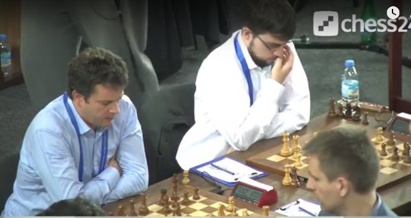 Boards 1 & 2 during the decisive match against Russia (image Chess24).