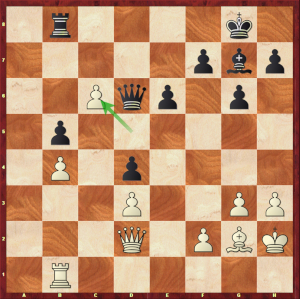 Carlsen-Mvl, Londres 8e partie ; le pion en c6 rend la défense noire délicate.